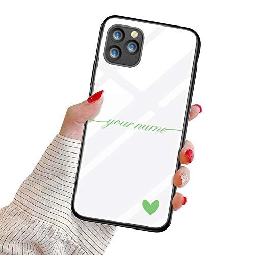 Oihxse Mujer Niña Moda Cover para Samsung Galaxy A20E Funda Personalizada Nombre Texto Carcasa Anti-rasguños Vidrio Templado Estuche Case Festival Regalo para Madre/Esposa/Novia,Verde
