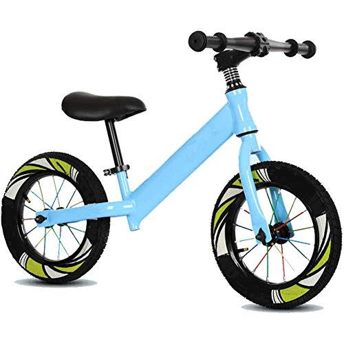 ZXL Bicicletta da 12'per Bambini e Ragazzi 2-6 Anni Ragazzi Ragazze Senza Pedale Bicicletta da Allenamento per l'equilibrio in Acciaio Regolabile a Piedi, Sedile Regolabile,Blu