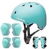 CELOID Kids Helmet Pad Set,Adjustable Kids Skateboard Bike Helmet Knee & Elbow Pads Wrist Guards 3-5-8yrs Kids Protective Gear Set for Girls Boys Bicycle Bike Roller Skating Scooter Rollerblade Sport
