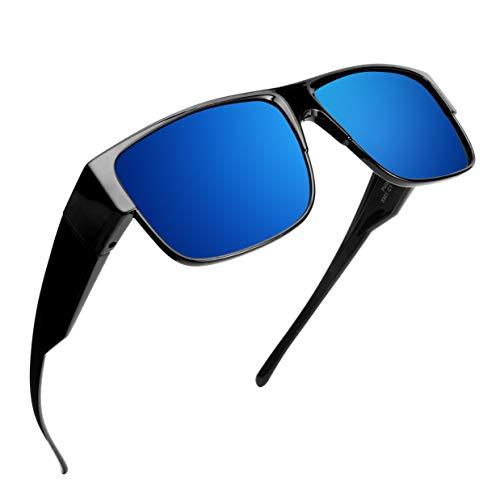 Br'Guras 偏光 オーバーグラス サングラス 偏光レンズ メガネの上から オーバーサングラス UV400 紫外線防止 超軽量 メンズ レディース オシャレ運転サングラス ドライブ 釣り ゴルフ (ブルー)
