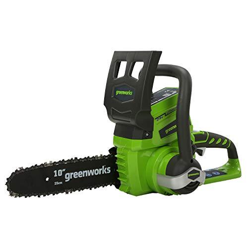 Greenworks Tools Motosierra eléctrica inalámbrica de 24 V (3,8 m/s, velocidad de cadena de 25 cm, sin batería ni cargador)