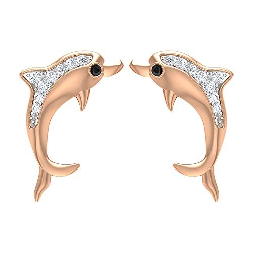 Pendientes de tuerca de delfín para mujer con diamantes (calidad AAA), 14K Oro rosa, Par