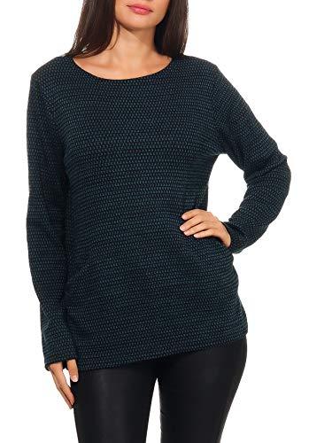 malito dames pullover | Gebreide pullover met zakken | Trui in trendkleuren | Top - Longsleeve - Sweater 9005