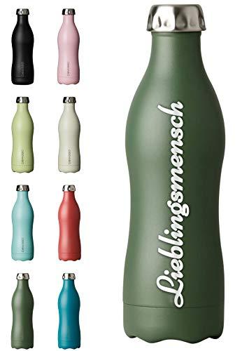 Dowabo NEU Edelstahl Thermoflasche 750ml XXL Gravur Personalisiert mit Name oder Wunschtext - Olive