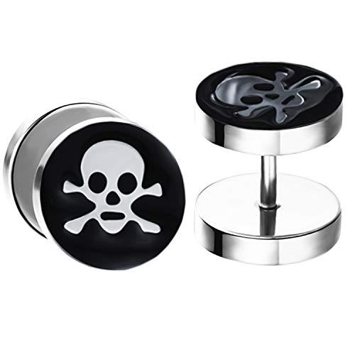 Ditz 1 Paar Ohrstecker Titan mit Totenkopf Skull Schädel Platte zum Schrauben Fake Plug Piercing Ohr Damen Herren Doppel Ohrringe Rund Schwarz 8mm