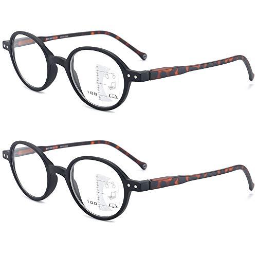 KOOSUFA Gleitsichtbrille Progressive Multifokus Lesebrille Damen Herren Anti-Blaulicht Sehhilfe Retro Rund Lesehilfe Anti Müdigkeit Brille 1,0 1,5 2,0 2,5 3,0 (2x Schwarz, 3.0)