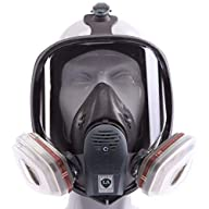 Reusable Full Face Respirator mask, gas,chemical, dust mask, Respiratory with Activated Carbon Air Filter (SJ-600) Front w/Demonstration Filters