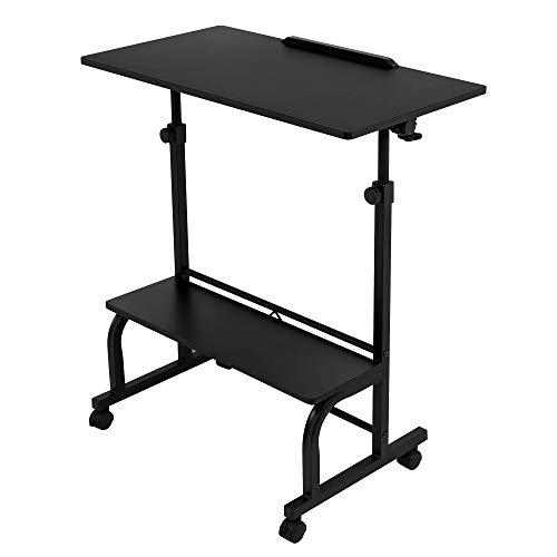 Mesa de escritorio regulable en altura con ruedas, con estantes, mesa de trabajo giratoria 180°, mesa de ordenador para niños, mesa de ordenador portátil, sofá, cama, sillón, oficina, mesa de oficina