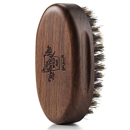 BFWood Small Travel Beard Brush - Natural Boar Bristles with Black Walnut...
