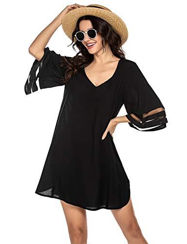 Balancora Vestido de playa para mujer, túnica de verano, estilo bohemio, caftán, playa, tallas S-XXL, 1_negro, Medium