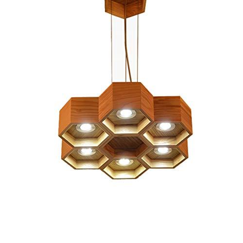 Lámpara LJF. Candelabro de madera, lámpara de madera maciza restaurante cafetería registro de la luz.