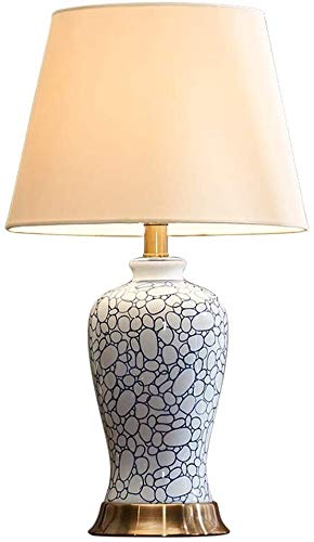 Mopoq Lámpara de mesa de hierro forjado Americano azul y blanco de porcelana de cerámica Lámpara de mesas de cama Lámpara de noche Creativa Lámpara LED simple Lámpara de tela Lámpara de mesita de noch