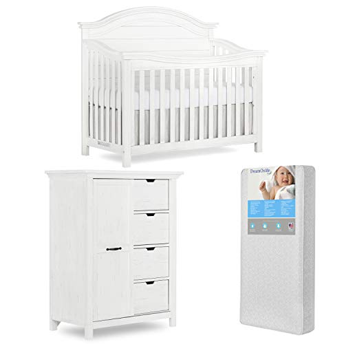 Evolur Belmar 5 In 1 Convertible Crib & Tall Chest with Free 260 Coil Crib & Toddler Mattress, Curve