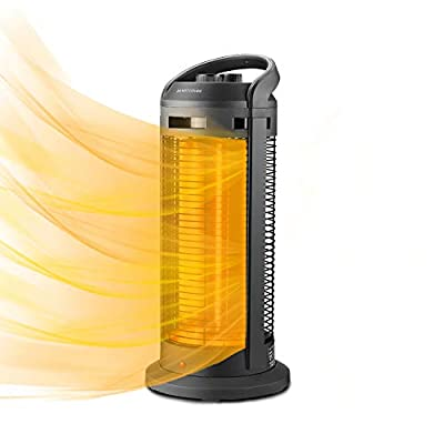 HYD-Parts Infrared Electric Space Heater, 1500W Portable Heater With Oscillation Function,Tip-Over and Overheat Protection, Suitable for Indoors, Bedroom, Office,Outdoor