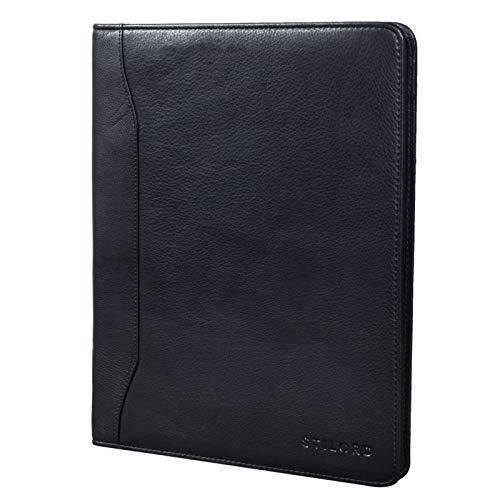 STILORD 'Scott' Vintage Dokumentenmappe Echtes Leder Schreibmappe 12,2 Zoll DIN A4 Hochwertige Aktenmappe mit Reißverschluss, Farbe:schwarz