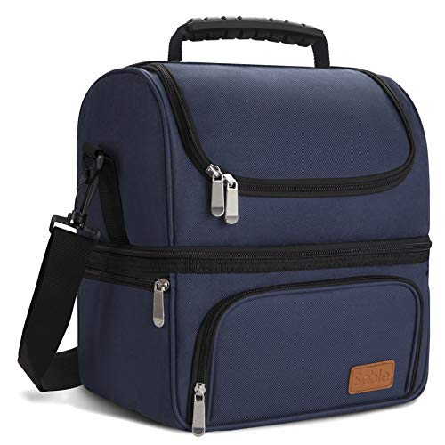 Sable 16Liter Large Lunch Box for Men Insulated Reusable Adult Lunch Bag Waterproof Cooler Tote Bag for Meal Prep with 2 Main Spacious Compartments, Large, Navy Blue