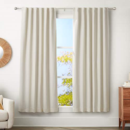 AmazonBasics - Barra para cortinas con remates redondeados, 180-360 cm, Níquel