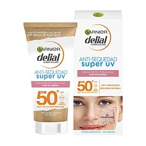 GARNIER DELIAL Sensitive Advanced - Crema Facial Hidratante Alta Protección Solar IP50+ - 50 ml