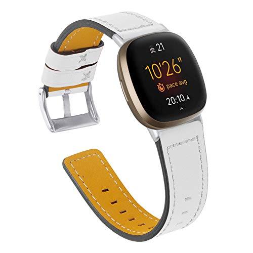"YiMiky Uhrenarmband für Fitbit Versa 3, Echtleder Uhrenarmband Ersatzarmband für Damen Herren 5,5""- 8,0"" Zoll Armband für Fitbit Versa 3 / Sense (Weiß)"