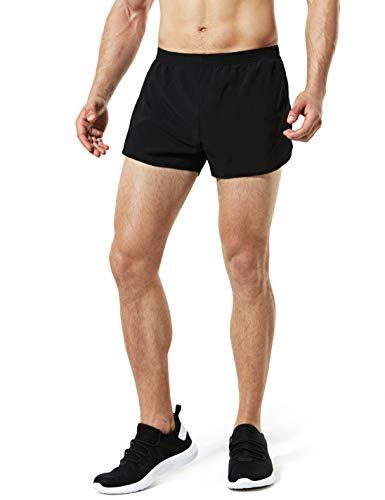 TSLA Men's Active Running Shorts, 3 Inch Quick Dry Mesh Jogging Workout Shorts, Gym Athletic Marathon Shorts with Pockets, Paceshorts(mbh23) - Black, Large