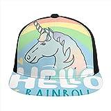 Photo de Hellow Rainbow Unicorn Cheval Ciel Snapback Réglable Plat Bill Casquette de baseball Coton Visière Chapeau Uni Chapeau Soleil Casquettes pour Sports de plein air Hommes Femmes par