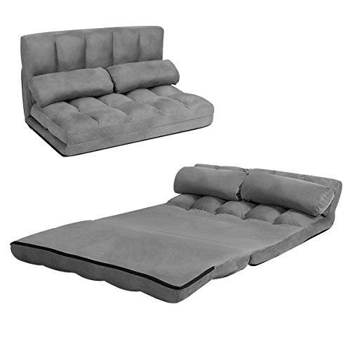 COSTWAY Double Folding Sofa Bed, 6-Position Adjustable Lounger Sleeper Seat Chair with 2 Pillows, Home Office Living Room Bedroom Floor Lazy Sofa Bed (Grey)