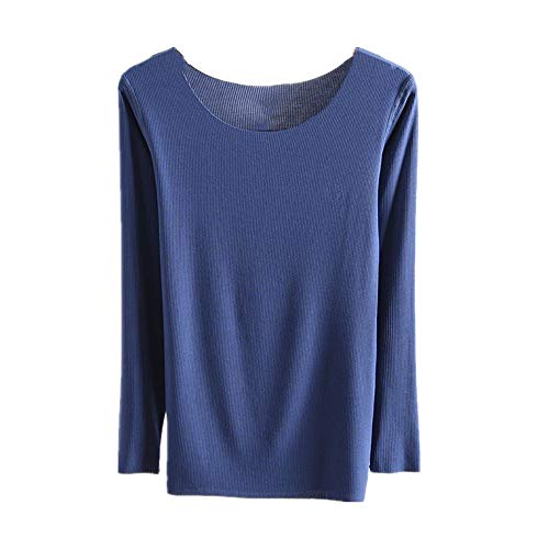 Primavera sin costuras cuello redondo de la camisa de fondo de la mujer de hilo sólido delgado de manga larga camiseta de fondo superior