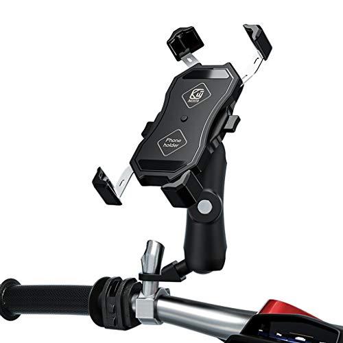 BLEUNUIT Soporte para teléfono para Motocicleta, 360 ° Soporte para teléfono móvil para Motocicleta y Bicicleta Soporte de Abrazadera para teléfono móvil de 4-6,5'-B