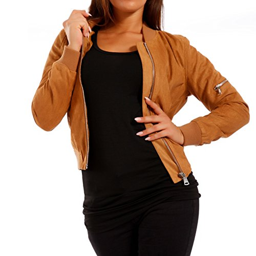 Young-Fashion Damen Bomberjacke Jacke in Wildleder-Optik, Farbe:Camel;Größe:38