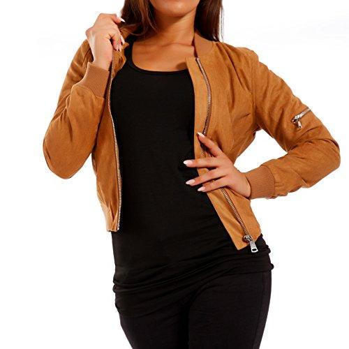 Young-Fashion Damen Bomberjacke Jacke in Wildleder-Optik, Farbe:Camel;Größe:38