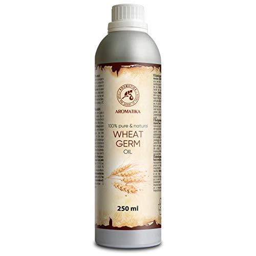 Aceite de germen de trigo 250 ml 100% puro y natural Aceite de germen de trigo - los mejores beneficios para el cabello - Piel - Cara - Cuerpo - Masaje - Aceite de germen de trigo