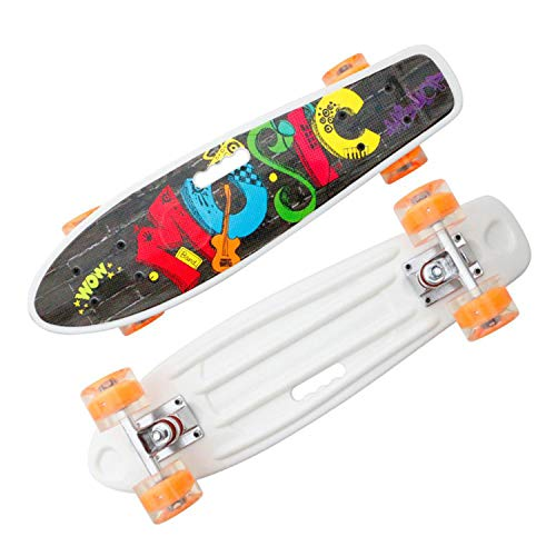 QJUZO Skateboards Adult Beginners Complete Board 55 * 14CM with Transparent LED Light Up Wheels for Children, Boys, Girls, Longboard Plastic Deck LED Light Rollers for Adults Boys Advanced,C