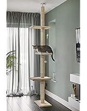 RuneSol Drapak dla kotów, wysokość sufitowa, drzewo do wspinania od podłogi do sufitu, drzewo do wspinaczki 240 cm-288 cm, z regulacją wysokości, drzewo dla kotów, drapak