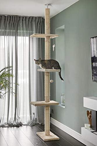 Poste Escalador Rascador para Gatos de 240cm-288cm, de Suelo a Techo, de Sisal Natural, Extensible, Color Beige