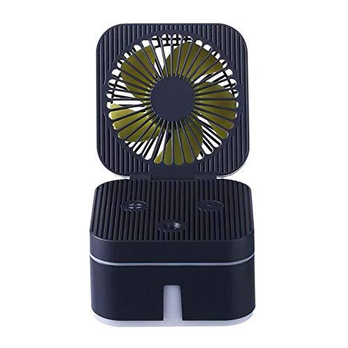 Ventilador pequeño USB 2 en 1 de Rubik con forma de cubo de Rubik, se vende uno por uno, negro, tamaño: 115 x 106 x 99 mm, material: ABS+PP+ electrónico original