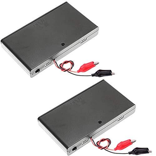 Greluma 2 Piezas 12V 8xAA Soporte de Batería Caja de Almacenamiento de Batería de Plástico con Tapa de la Caja Interruptor de Encendido/Apagado Cables + 4 Pinzas de Cocodrilo