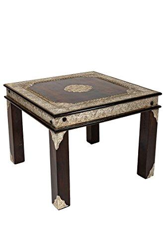 Marrakesch Orient & Mediterran Interior Marokkanischer Wohnzimmertisch Couchtisch Holz Alim Braun 60cm | Vintage Tisch Messing verziert Wohnzimmer | Orientalischer Sofatisch Massivholztisch