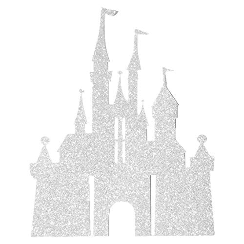 Flairs New York Happy Birthday Decorations Cake Toppers Party Props (Pack of 1 Cake Topper, Silver Glitter Princess Castle)
