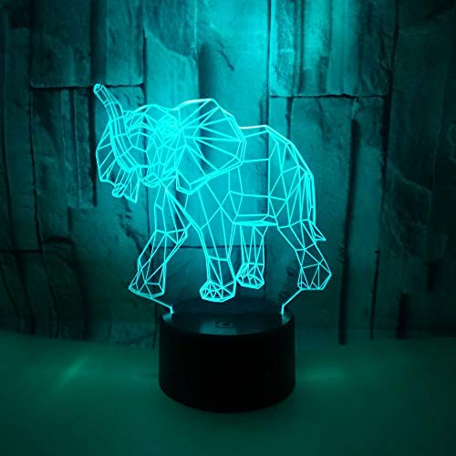 Elephant Colorful 3D Small Night Lamp Colorful Touch Remote 3D Light Fixtures Christmas Gift for Baby Room Lights