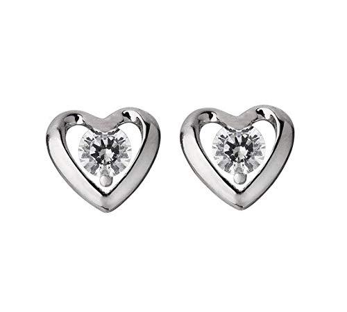 Revere Platinum Plated Silver CZ Heart Stud Earrings