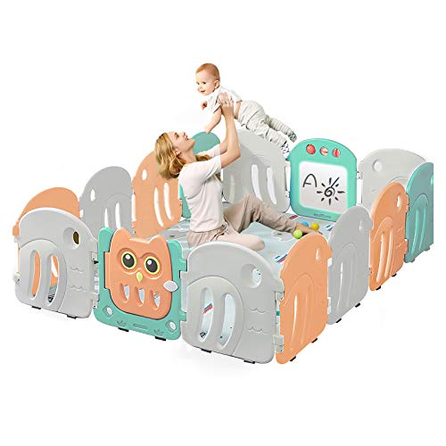 Doctor Dolphin Baby Playpen  Play Gate for Toddler Play Yard with Transparent Graffiti Board Birds Playpen Toys 12 Panels1 Gate1 Graffiti Board
