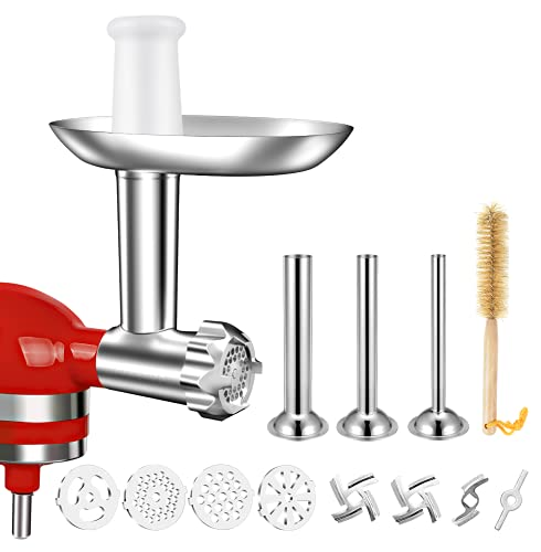 Meat Grinder Attachments for KitchenAid Mixers - GEEKERA Metal Sausage Stuffer Accessories Compatible with KitchenAid Stand, Includes 4 Stainless Steel Food Grinder Grinding Plates and Blades