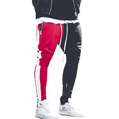 Yowablo Herren Jogginghose Sporthose Baumwolle Fitness Slim Fit Hose Freizeithose Joggers Streetwear Street Patchwork Reißverschlüsse (M,rot)
