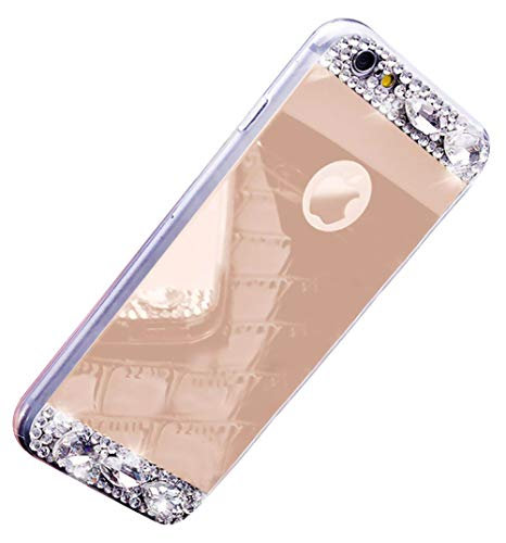 Ekakashop Huawei P8 Lite 2017 Hülle Spiegel,Glitzer Hülle Huawei Honor 8 Lite,Luxus 3D Champagner Gold Chrom Bling Silikon Schutzhülle Make Up Mirror Bumper Stoßfest Kratzfeste Handyhülle,EINWEG