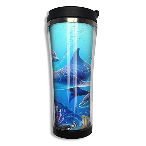 Qurbet Mug de Voyage, Tasse à Café Colorful Sea Ocean World Dolphin in Tropical Deep Ocean Travel Coffee Thermal Mug Gobelet de Voyage Isotherme Perfect for Travel, Camping, Hiking