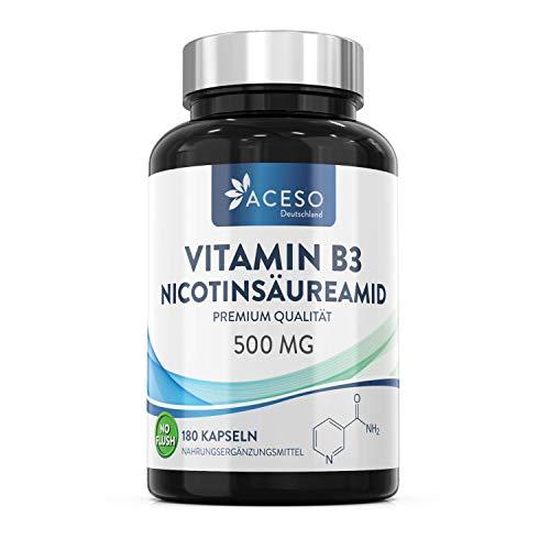 Vitamin B3 Nicotinamid 500 mg - 180 Hochdosiert Niacin-Kapseln ohne Flushing-Effekt (Flush Free) - Veganes Nicotinsäureamid Vitamin B3