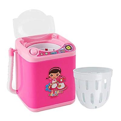 Vaorwne Multifunction Gold Blender Washing Machine Kids Washing Machine Toy Beauty Sponge Brushes Makeup Brush Cleaning Electric Washer-Pink