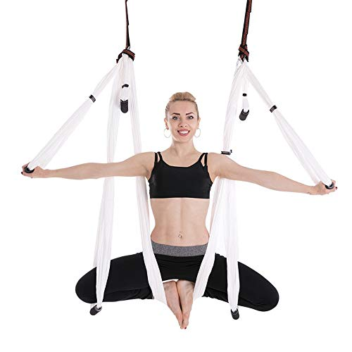 Great Deal! DERTHWER Yoga Hammock Anti-Gravity Aerial Yoga Hammock Indoor Fitness Yoga Swing Chrysan...