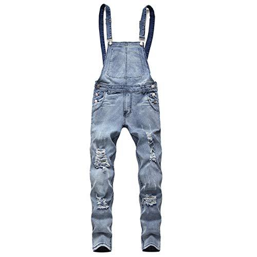 BAOSHI1 Mens Denim Distressed Bib Jumpsuits Overalls Romper for Carpenter Moto Biker Coveralls (Large, Blue)