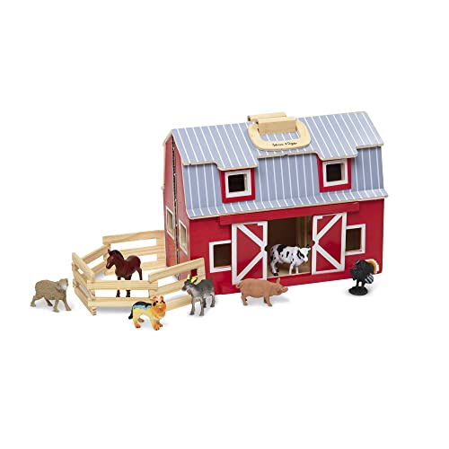Wooden Barn and Animals Toy Set